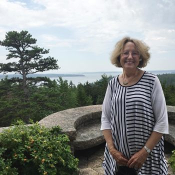 Janet Plotkin, our leader, at The Eyrie Overlook, Abby Aldrich Rockefeller Garden, Seal Harbor (July 22, 2016)